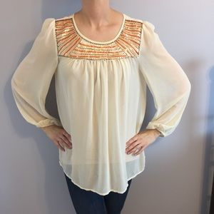 Flowy Blouse with Pretty Sequins and Beads